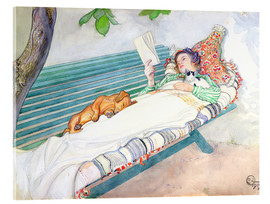 Acrylglas print  Woman lying on a bench - Carl Larsson