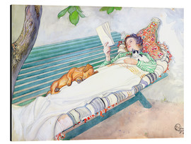 Aluminium print  Woman lying on a bench - Carl Larsson