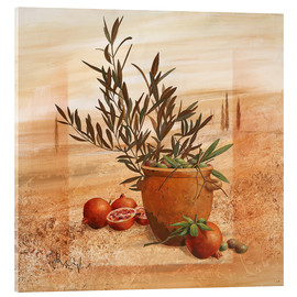 Acrylglas print  Pomegranate and olive harvest - Franz Heigl