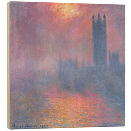 Hout print  The Houses of Parliament - Claude Monet