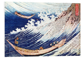 PVC print  Two small fishing boats on the sea - Katsushika Hokusai