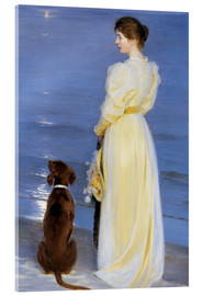 Acrylglas print  Summer Evening at Skagen. The Artist's Wife and Dog by the Shore - Peder Severin Krøyer