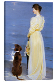 Canvas print  Summer Evening at Skagen. The Artist's Wife and Dog by the Shore - Peder Severin Krøyer