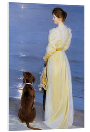 PVC print  Summer Evening at Skagen. The Artist's Wife and Dog by the Shore - Peder Severin Krøyer