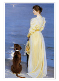 Premium poster  Summer Evening at Skagen. The Artist's Wife and Dog by the Shore - Peder Severin Krøyer
