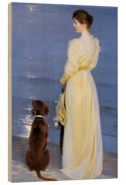 Hout print  Summer Evening at Skagen. The Artist's Wife and Dog by the Shore - Peder Severin Krøyer