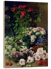 Hout print  Spring Flowers - Claude Monet