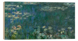 Hout print  Waterlilies, Green Reflections - Claude Monet