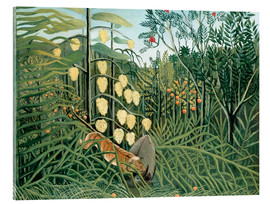 Acrylglas print  Tiger attacks a buffalo - Henri Rousseau