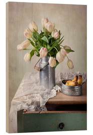 Hout print  Still life with tulips - Nailia Schwarz