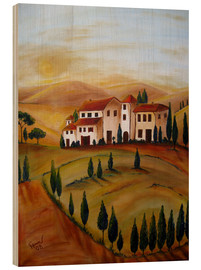 Hout print  Sunrise in Tuscany - Christine Huwer