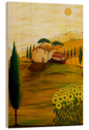 Hout print  Sunflowers in Tuscany - Christine Huwer