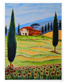 Premium poster  Flowering Poppies of Tuscany 4 - Christine Huwer