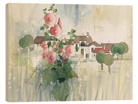 Hout print  Rural Impression with hollyhocks - Franz Heigl