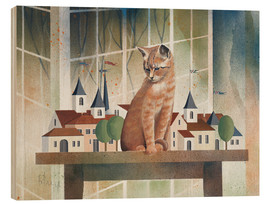 Hout print  View of the cat - Franz Heigl