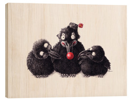Hout print  Three Ravens, One Clown - Stefan Kahlhammer