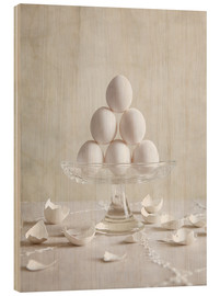 Hout print  Still Life with Eggs - Nailia Schwarz
