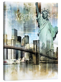 Canvas print  Skyline Manhattan, New York Fraktal - Städtecollagen