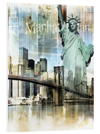 PVC print  Skyline Manhattan, New York Fraktal - Städtecollagen