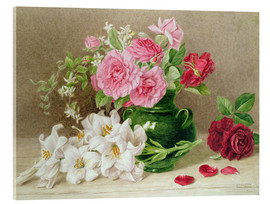 Acrylglas print  Roses and lilies - Mary Elizabeth Duffield