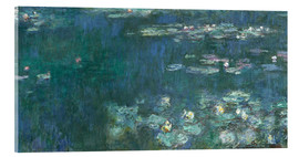 Acrylglas print  Water Lilies, Green Reflections 2 - Claude Monet
