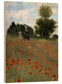 Hout print  Poppy field at Argenteuil - Claude Monet