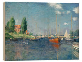 Hout print  Red boats at Argenteuil - Claude Monet