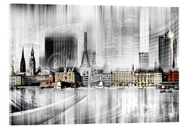Acrylglas print  Hamburg Skyline, Germany - Städtecollagen