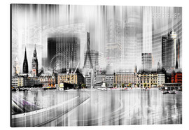 Aluminium print  Hamburg Skyline, Germany - Städtecollagen