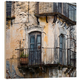 Hout print  Medieval facade in the Sicilian mountain village Forza d'Agro - CAPTAIN SILVA