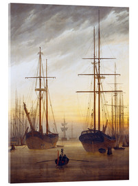 Acrylglas print  View of a harbor - Caspar David Friedrich