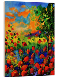 Hout print  Field of poppies - Pol Ledent