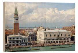 Hout print  St. Mark's Square on the Grand Canal - Lynn Seldon