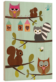 Hout print  Happy Tree with cute animals - owls, squirrel, racoon - GreenNest
