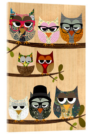 Acrylglas print  Nerd owls on branches - my friends and me - GreenNest