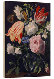 Hout print  Vase with flowers - Daniel Seghers