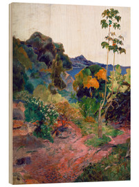 Hout print  Het landschap van Martinique - Paul Gauguin