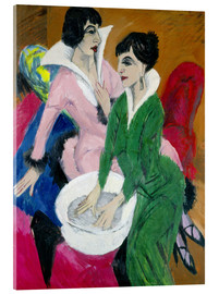 Acrylglas print  Two women with washbasin, The sisters - Ernst Ludwig Kirchner
