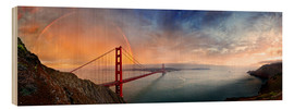 Hout print  San Francisco Golden Gate with rainbow - Michael Rucker