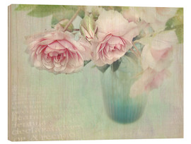 Hout print  pink roses - Lizzy Pe