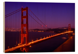 Hout print  Golden Gate Bridge by Night - Melanie Viola