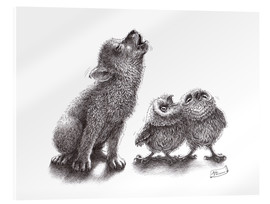 Acrylglas print  Howling wolf meets howling owls - Stefan Kahlhammer