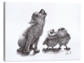 Canvas print  Howling wolf meets howling owls - Stefan Kahlhammer