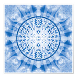 Premium poster flower of life blue - symbol harmony and balance - blue