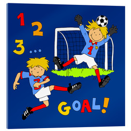 Acrylglas print  boys playing soccer, Goal! - Fluffy Feelings