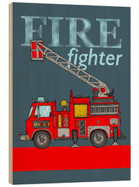 Hout print  fire fighter fire truck - Fluffy Feelings