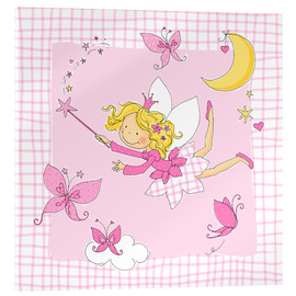 Acrylglas print  flying fairy with butterflies on checkered background - Fluffy Feelings