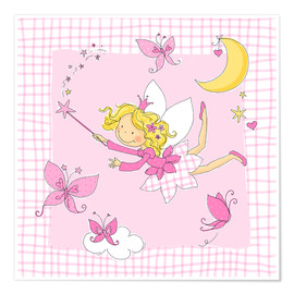 Premium poster  flying fairy with butterflies on checkered background - Fluffy Feelings