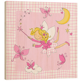 Hout print  flying fairy with butterflies on checkered background - Fluffy Feelings
