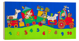Hout print  tractor train with farm animals and numbers - Fluffy Feelings